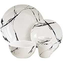 American Atelier Marble Coup 16 Piece Dinnerware Set, White