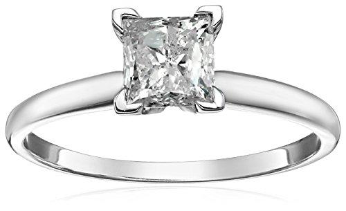 Cut Solitaire Princess Classic - 14k Princess Cut Solitaire White Gold Engagement Ring (3/4cttw, H-I Color, I3 Clarity), Size 7