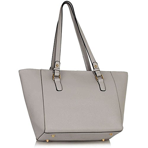 TrendStar - Bolso de mano mujer A- Grey/White