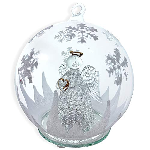 BANBERRY DESIGNS LED Glass Globe Christmas Tree Ornament with Angel Holding Heart Inside - Color Changing Lights - Clear Glass with Hand Painted Glitter Snowflakes 5 Inch -