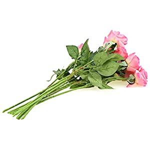 FiveSeasonStuff 10 Stems of Real Touch Silk Roses 'Petals Feel and Look like Fresh Roses' Artificial Flower Bouquet for Wedding Bridal Office Party Home Decor 13