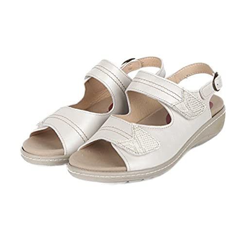 80Off Plantilla Mujer Velcros Blanco Dos Color Sandalia Extraible 1JKTclF