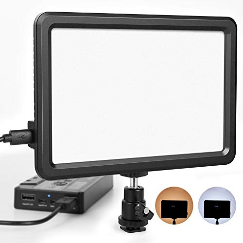 RALENO Led Video Light, Panel Light Built-in 5000mA Lithium Battery , 3200K-6500K White and Warm Light Adjustable, with Hot Shoe Ball Mount, USB Cable 104 LED Light for all DSLR (Mount Led Light)