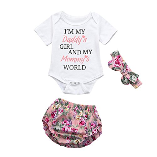 Kehen Newborn Baby Girl 3pcs Summer Outfits Letter Print Short Sleeve Romper+Flower Shorts+Bows Headband Sets (#2, 3-6 Months)
