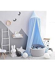 Tyhbelle Baldachin mit kleinen Bommeln Betthimmel Kinder Bett Baumwolle Hängende Moskiton für Schlafzimmer( mit Bommeln))