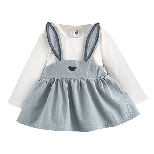 Jubaopen 0-3 Years Old Autumn Baby Kids Toddler Girl Cute Rabbit Bandage Suit Mini Dress (Blue, - Old Sunglasses 2 Month