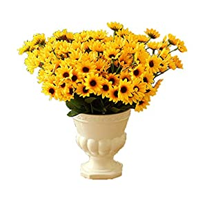Lannu Pack of 2 Artificial Sunflowers Bouquet Silk Flowers 7 Heads Fake Flower for Home Wedding Bride Holding Flowers Party Floral Décor 2
