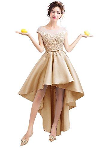 Besswedding Haute Robes De Demoiselle D'honneur En Satin À Manches Bas Chapeau Champagne Robe De Soirée Maxi Des Femmes