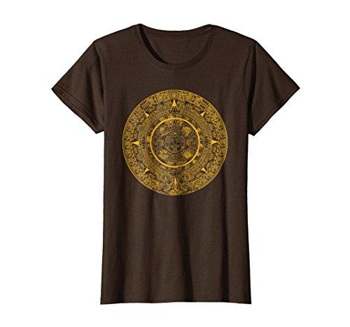 Womens Aztec Gold Calendar T-Shirt God Calender Serpent mesoamerica XL Brown
