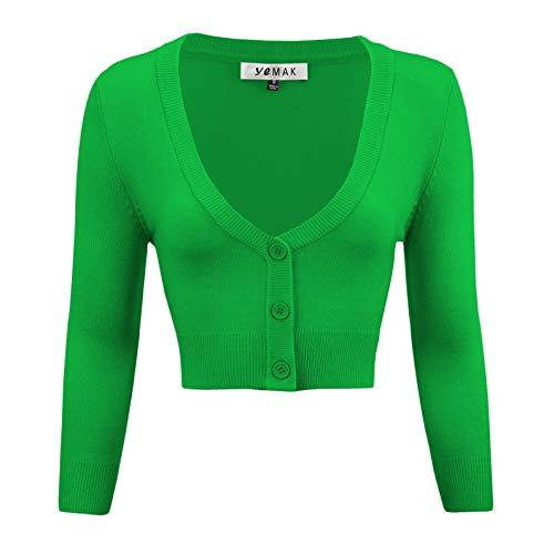 Bright Sweater - YEMAK Women's Cropped 3/4 Sleeve Bolero Button Down Cardigan Sweater CO129-BGR-XL Bright Green