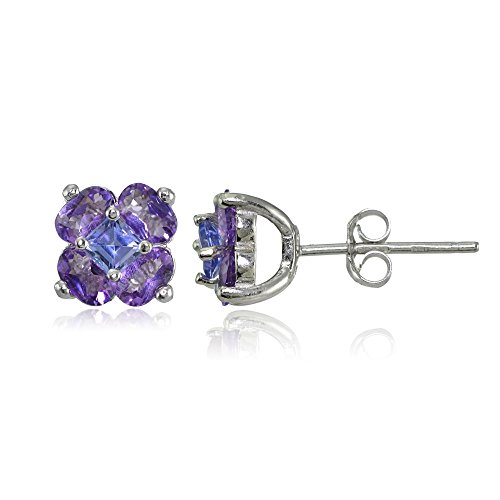 Sterling Silver Amethyst and Tanzanite Flower Stud Earrings (Flowers Earrings Tanzanite)