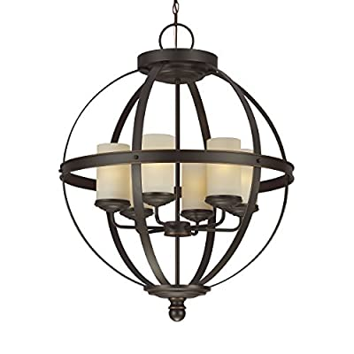 "Sea Gull Lighting 3190406-715 Six 3190406-715-Six Light Chandelier - Dimensions - diameter: 24 1/2'' height: 32 1/4'' overall height: 172'' Canopy dimensions - diameter: 5 1/2'', height: 1 1/4'' Supplied with 168"" wire and 144"" chain. Supplied with wire pre-laced through chain - kitchen-dining-room-decor, kitchen-dining-room, chandeliers-lighting - 41GkcxwayYL. SS400  -"