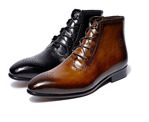 FELIX CHU Mens Dress Boots Genuine Leather Brown Ankle Boots High Top Lace-up Classic Casual Fashion Boots for Men