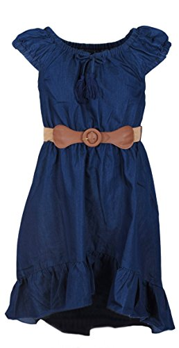 Dollhouse Girls' Belted Denim Peasant Dress, Size 5/6, (Belted Leather Tie)
