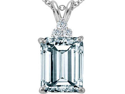 Tommaso Design Emerald Cut 10x8 mm Genuine Aquamarine Pendant Necklace 14 kt White Gold