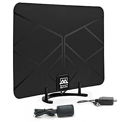 BAM Cables HDTV Leaf Amplified Indoor HD Antenna Digital TV - 60 Miles Range