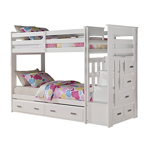 Acme Allentown Twin Over Twin Bunk Bed with Storage Ladder & Trundle, White