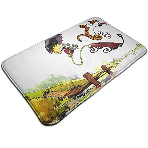 Marcus Roberta Calvin-and-Hobbes Design Foam Bath Mat Ultra Soft Indoor Modern Area Rugs Fluffy Living Room Carpets Suitable for Children Bedroom Home Decor Nursery Rugs Floor Mat Size: 20