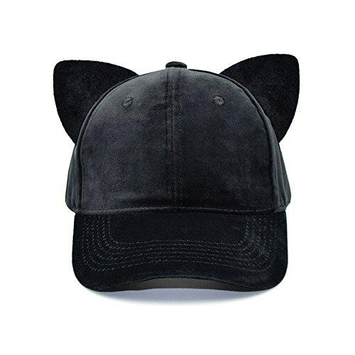 Men Women Large Big Ear Mouse Cat Character Baseball Hat adjustment Cap Woll Hat (A3-Black Cat)]()