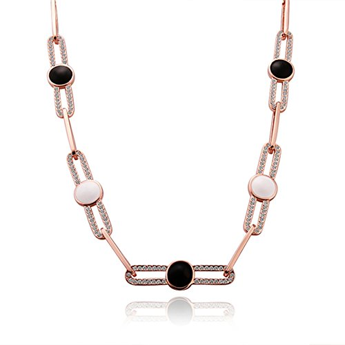 Long Chain Necklace Multiple Round White Black Rhine Stone Eco-friendly Rose Gold Plated - Single Roller Coaster Costume