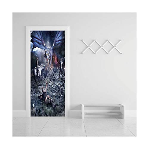 HappyShopDecoration Door Decal Wall Murals 3D Vinyl Wallpaper Stickers for Room Decor,30.3x78.7 inches,Fantasy