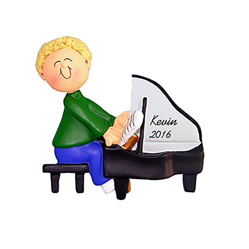 Piano Personalized Christmas Ornament - Male - Blonde Hair - Handpainted Resin - 4