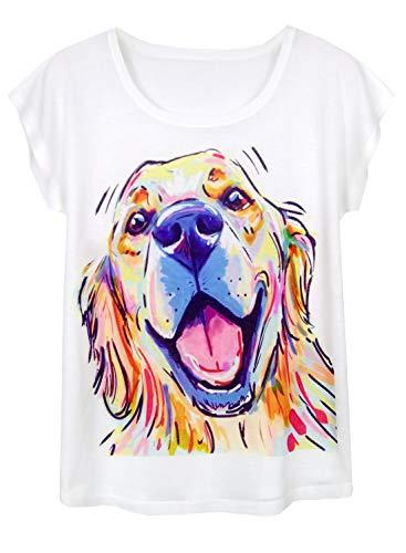 Doballa Women's Funny Pit Bull Dog Pattern Short Sleeve T-Shirt Cute Tops (L, Smiling Golden Retriever)