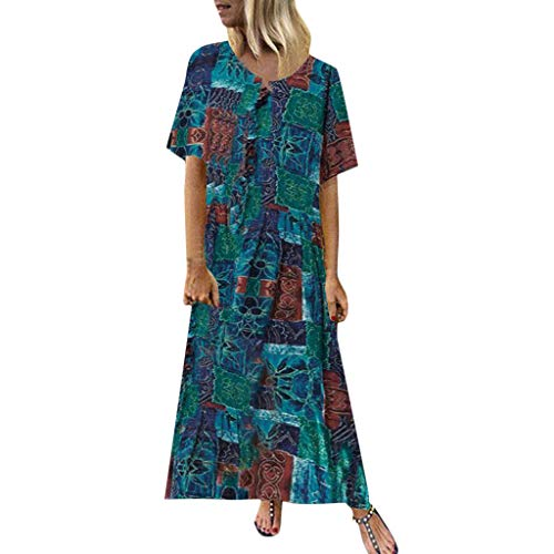 - Woman Sexy Floral Print Split Dresses Loose Deep V Neck Strap Halter Dresses Sling Back Beach Long Maxi Dresses (Blue, Medium)
