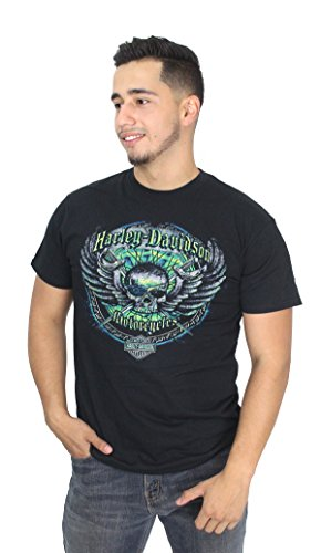 Winged Skull T-shirt - Barnett Harley-Davidson Harley-Davidson Mens Frozen Wrath Winged Skull With Swords Shirt (2X)