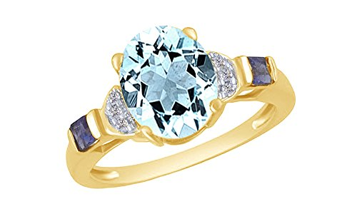 (Oval Cut Simulated Aquamarine & Amethyst CZ with White Natural Diamond Accent Solitaire Ring in 10k Solid Gold (2.36 Cttw))