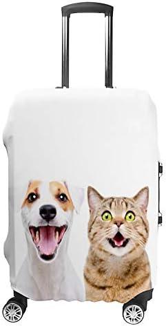 スーツケースカバー 伸縮素材 トランク カバー 洗える 汚れ防止 キズ保護 盗難防止 キャリーカバー おしゃれ かわいい犬と元気な猫 ポリエステル 海外旅行 見つけやすい 着脱簡単 1枚入り