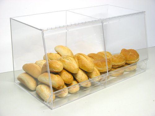 Bulk Bread Storage Display Case 2 Containers for Deli or Convenience Stores, Bakery Sandwich Pastry Donut or bagel with removable crumb ()