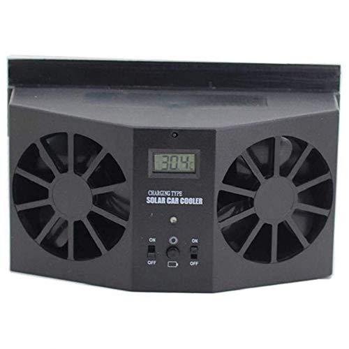 EGFHEAL Solar Powered Car Ventilator,Car Cooling Fan,Car Interior Auto Air Vent Cool Fan Ventilation System Dual-Fan Ventilator Black