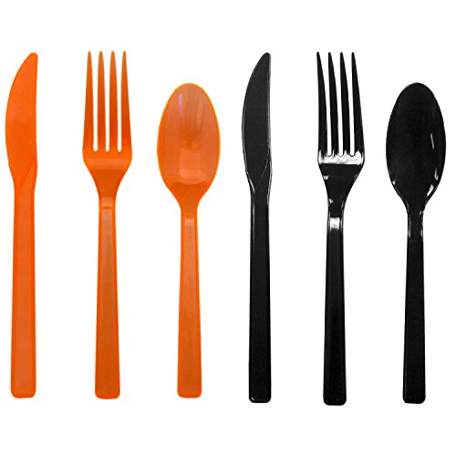 Party Essentials Hard Plastic Cutlery Combo Pack Available in 15 Colors, Orange and Black, 136 Place Settings ()