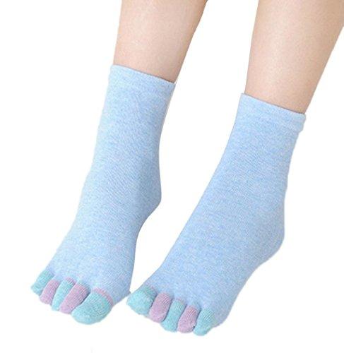 Calcetines De Mujer Five Toe, Sagton Mujer Calcetines De Algodón Cromático Sports Calcetines De Tratamiento Ahletic Blue