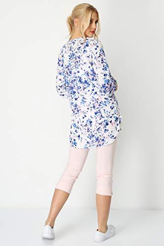 Camicia Donna Modellante Floreale Blue 4 Manica Roman Originals 3 down A Vestito Button 5qwTR