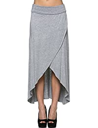 Women'S Rayon Span Regular to Plus Size Maxi Skirt - Solid