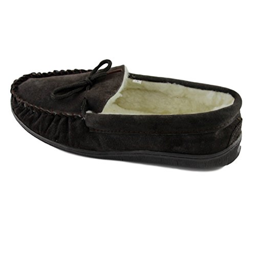 Sole Upper Mens Sheepskin Brown Deluxe Suede World Thick Slippers Hard with Extra Lambswool Moccasin 77vS4nrqE