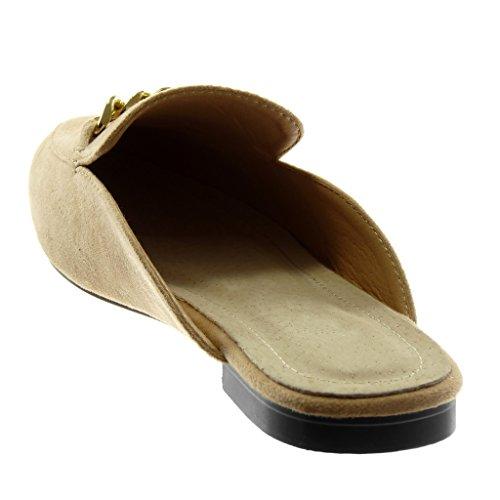 1 Catena on D'oro Blocco Slip Orientali Ciabatte Cm A Scarpe Tacco Angkorly Donna 5 Beige Moda cwUqS0nW7