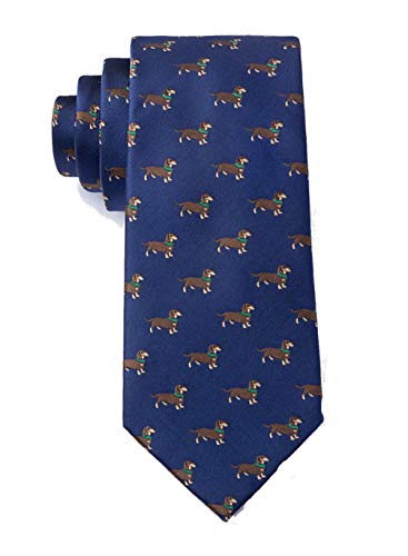 Men's Weenie Dachshund Hot Wiener Dog Animal Novelty Skinny Narrow Necktie Tie (Navy Blue)
