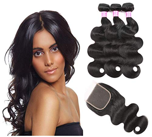 Brazilian Hair With Closure 8A 3 Bundles Body Wave Virgin Human Hair Bundles With Lace Closure 100% Unprocessed Hair Extensions Natural Black Color (14 16 18+12)