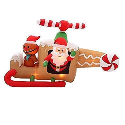 Gemmy 36678 Animated Airblown Gingerbread Helicopter Christmas Inflatable 4FT TALL x8 FT ()