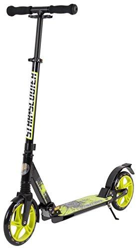 STAR-SCOOTER® Premium City Scooter für gelenkschonenden Komfort auch auf dem Schulweg ★ 205mm Vollgefederte Fully Edition ★ Schwarz & Grün