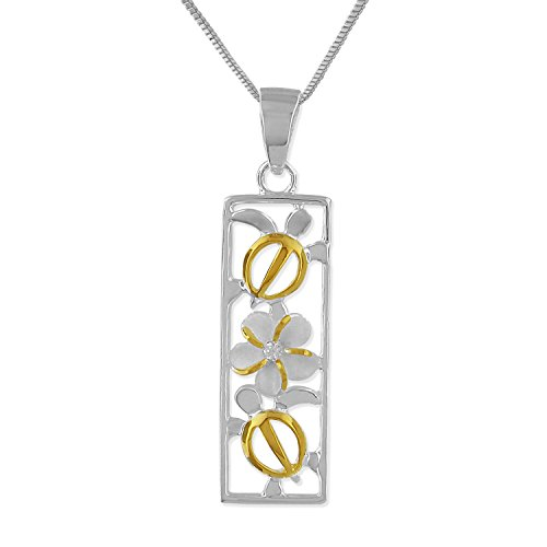 Sterling Silver with 14kt Yellow Gold Plated Accents Turtle Plumeria Vertical Bar Pendant Necklace, 18+2