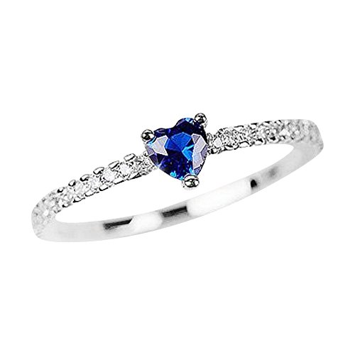 Gieschen Jewelers -Blue Heart- 14K White Gold-Plated CZ Crystal Ring, Size 5