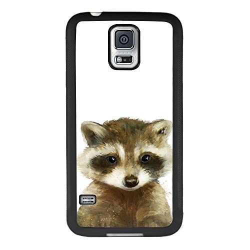Case for Samsung Galaxy S5 case Cute Raccoon Slim Soft and Hard Tire Shockproof Protective Phone Cover Case Slim Hybrid Shockproof Protective Case Anti-Scratch Cushion Bumper with Reinforced Corners, (S5 Galaxy Samsung Case Raccoon)