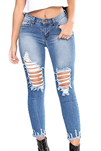 Denim Destoryed Caviglia yulinge Lunghi Jeans Donne Blu Strappati Pantaloni Le IAxxWYTwqU