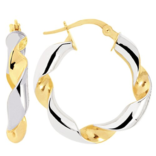 14k 2 Tone Gold Round Twisted Tube Hoop Earrings, Diameter ()