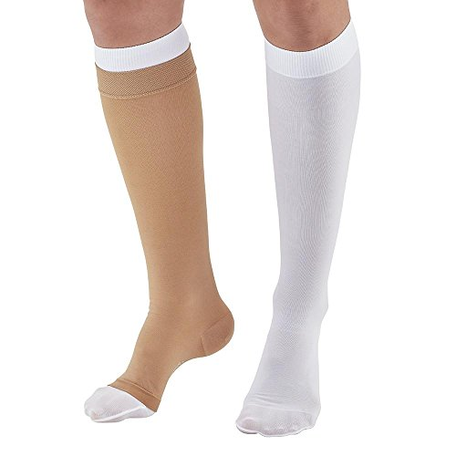 Ames Walker AW Style 2712 Ulcer Care 30-40mmHg Compression Knee High Plus Liners Kit Sand Medium - Prevention and treatment of leg ulcers and mild lymphedema - 2 part system (Ulcer Treatment)