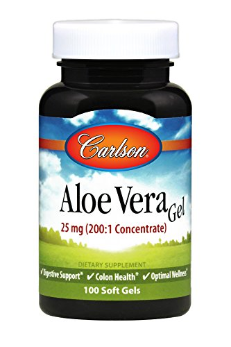 Carlson – Aloe Vera Gels, 25 mg (200:1 Concentrate), Digestive Support, Colon Health & Optimal Wellness, 100 Softgels